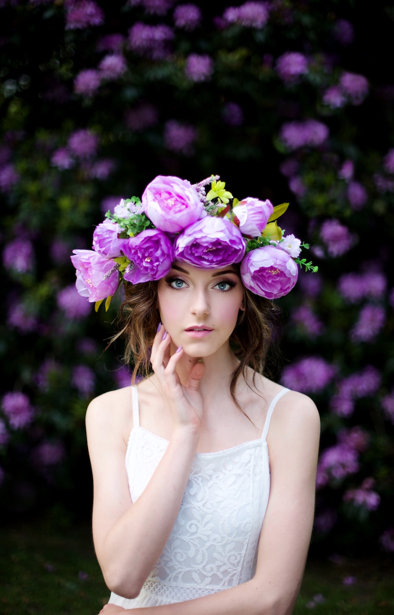 Purple Flower Crown Orchard Makeup
