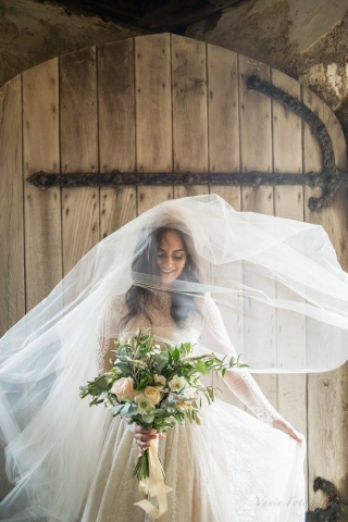 wedding, windy, veil, makeup