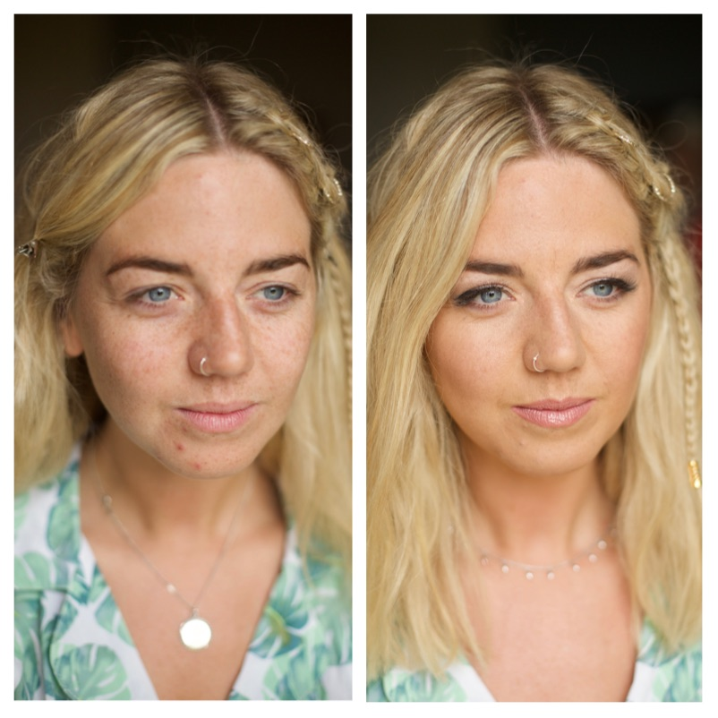 Before and after, makeup