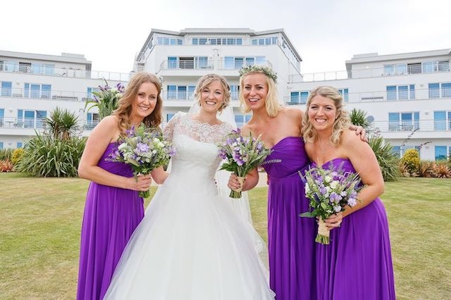 bride, purple, wedding