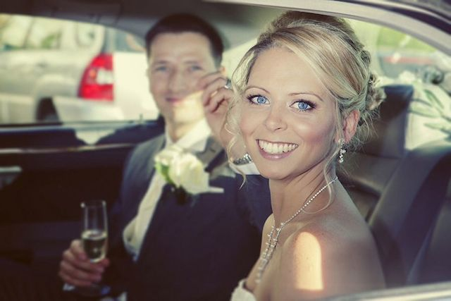 bride, blue eyes, car