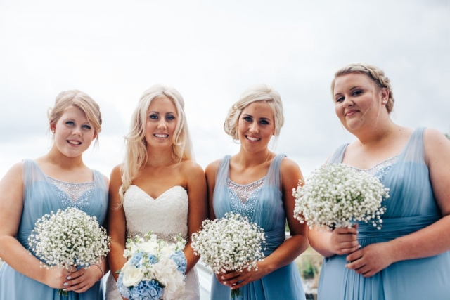 bride, blue dress, flowers, makeup
