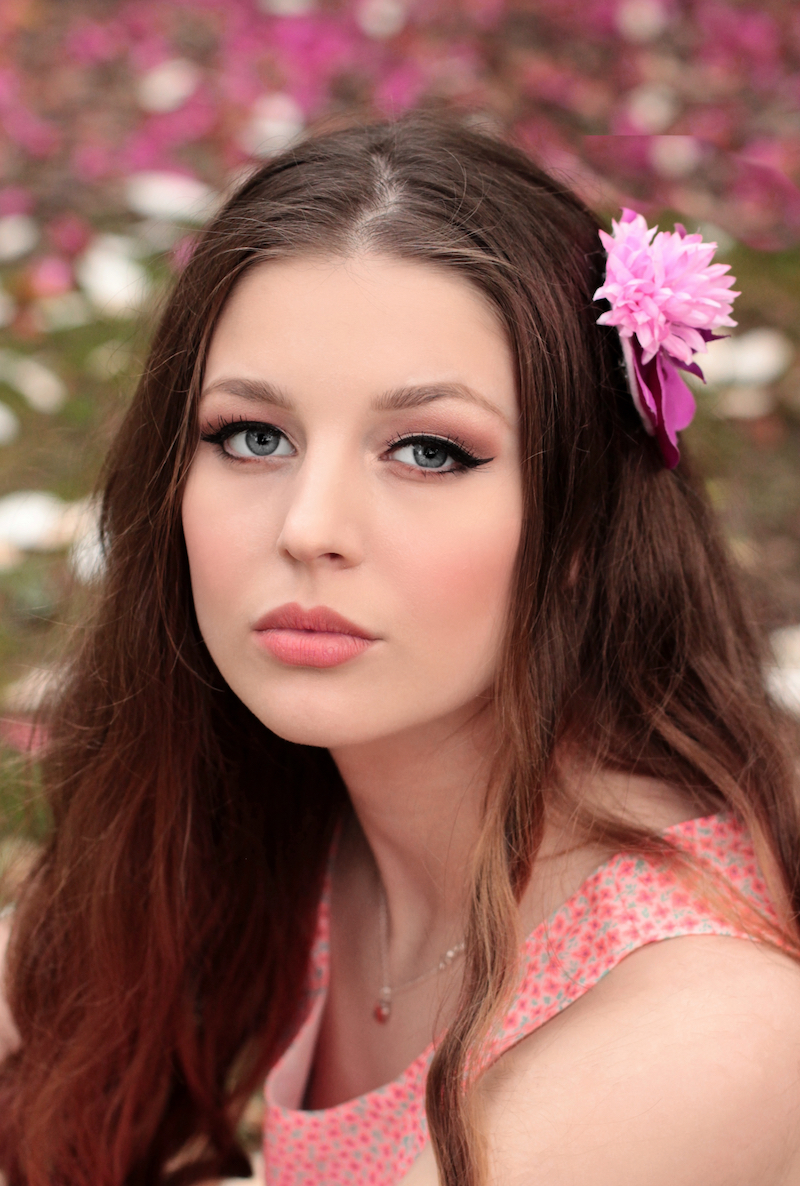 flower, spring, model, pink, portrait
