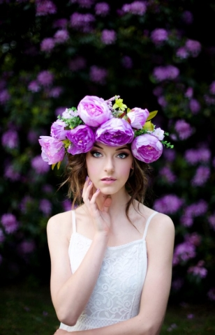 flower crown, bride, fashion, makeup