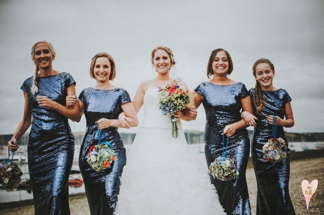 bride, cornwall, blue sequins