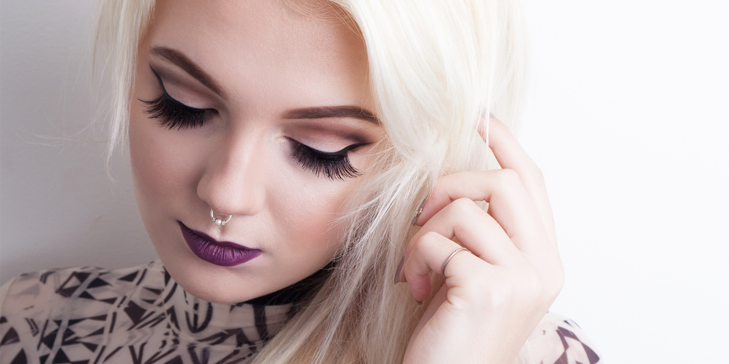 makeup, purple lips, lashes