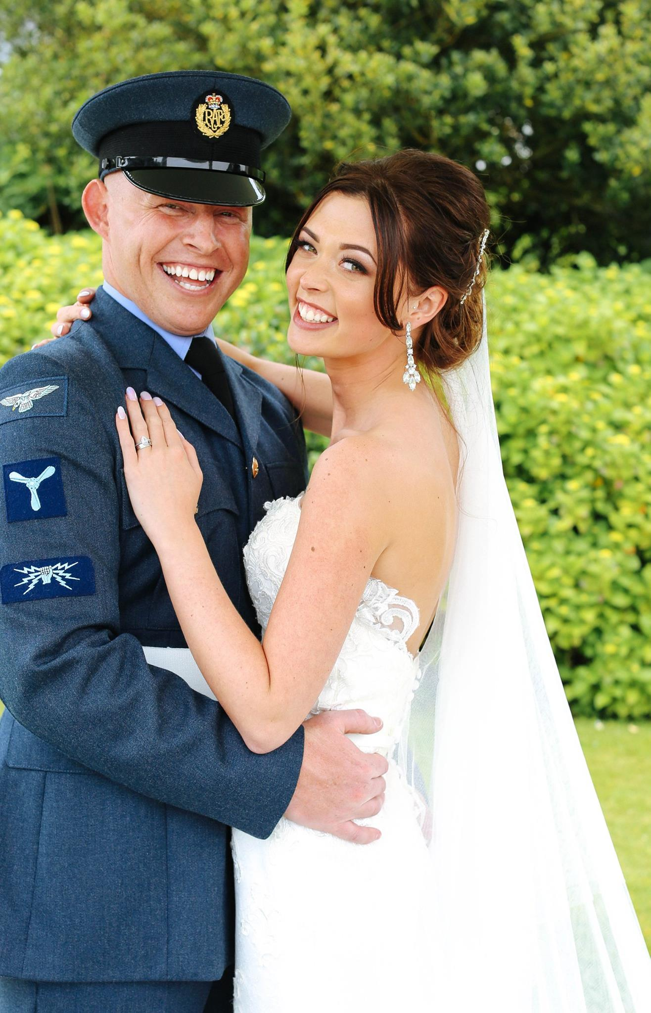 bride, groom, uniform