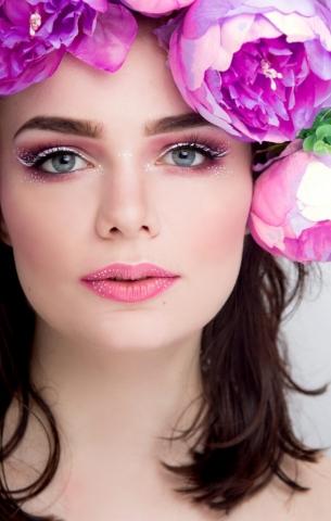makeup, pink, white eyeliner