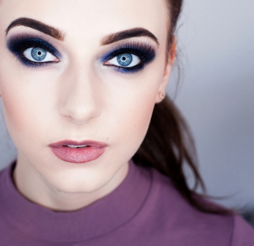 model, eyes, smokey, makeup