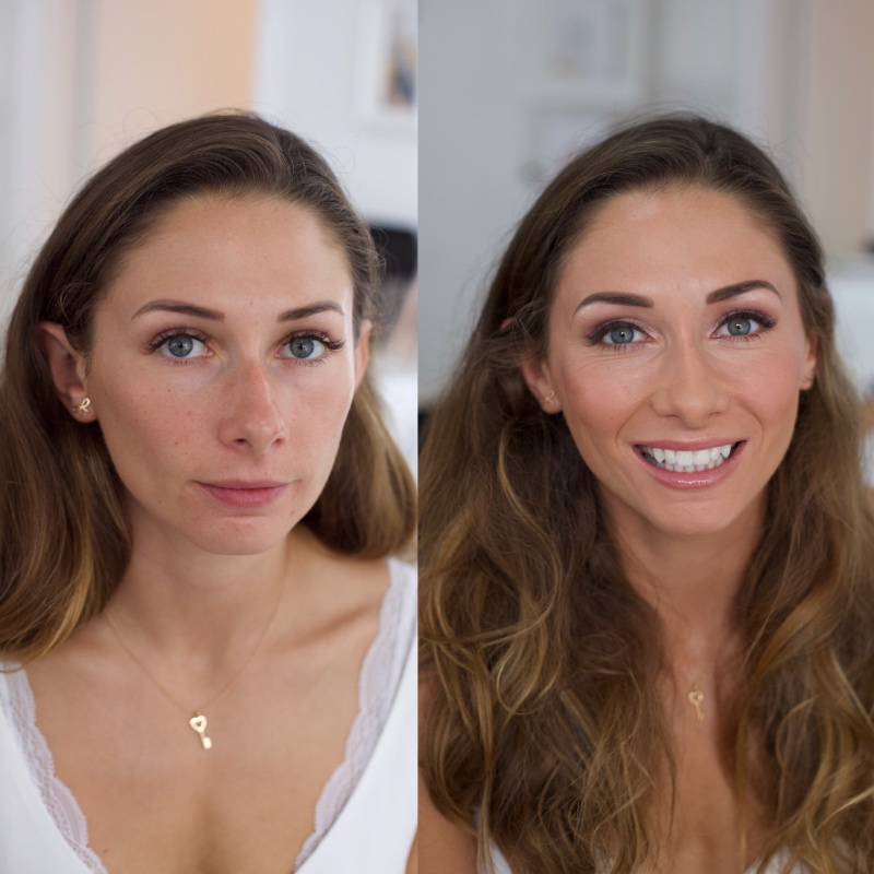Bride, before and after, mua