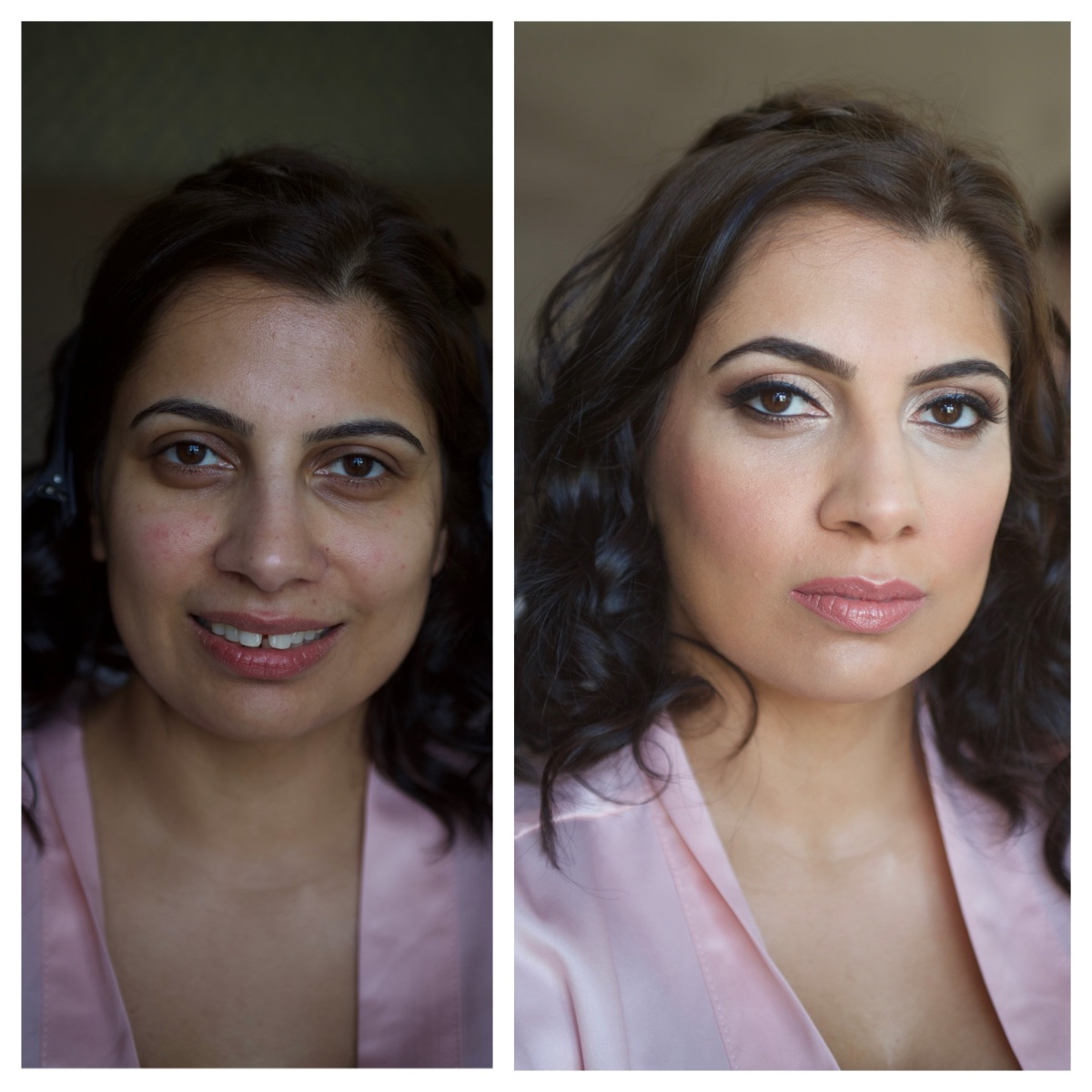 Asian makeup, indian makeup, before and after