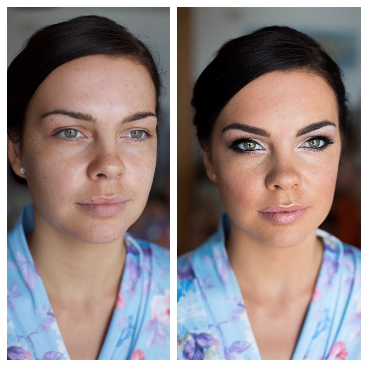 Wedding, makeup, before and after